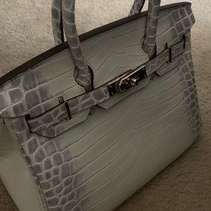 Handbags - White Croc Handbag